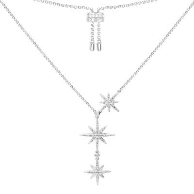 【apm MONACO】大小星星鎖骨鏈氣質流星925銀項鏈百搭頸鏈時尚吊墜女士首飾奢華貴族