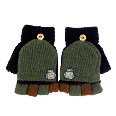 热卖儿童手套冬季毛线翻盖露指两用保暖手套6-12岁小学生写字贴标男童