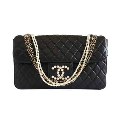【正品二手95新】香奈儿(CHANEL)口盖包 女士黑色菱格纹 珍珠双C标志 珍珠链条单肩斜挎包 含卡