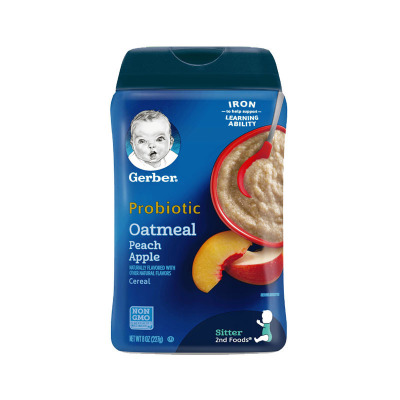 嘉寶(Gerber)燕麥蘋果蜜桃米粉 2段 227g/罐裝 原裝進口 6-9月及以上