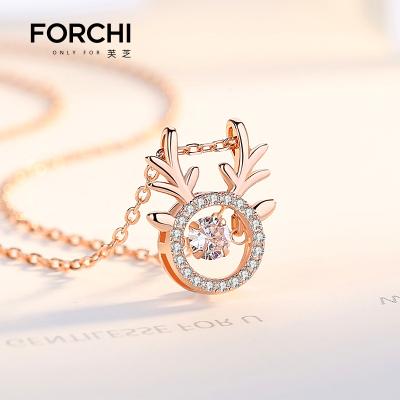 芙芝FORCHI一路鹿有你925純銀項鏈女鎖骨鏈鹿角吊墜生日禮物 銀飾品