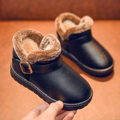 兒童雪地靴男童女童鞋寶寶短靴秋冬季加絨防滑童靴子保暖鞋大棉鞋 莎丞