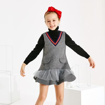 【3件1.5折价:74.9】米喜迪mecity童装秋冬新款女童裙子羊毛呢料荷叶边洋气连衣裙