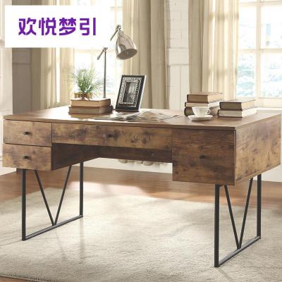loft實木書桌書柜一體帶抽屜大氣復古創意寫字臺老板桌主管桌