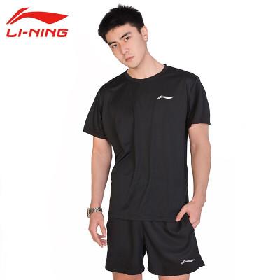 李寧(LI-NING)運動服套裝男新款羽毛球服T恤短袖速干短褲 ATSP503+AKSP805-1