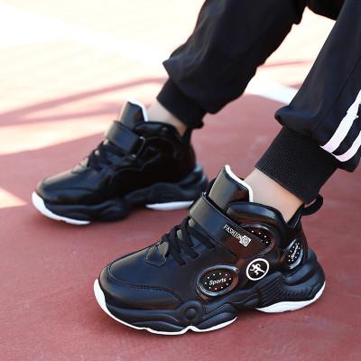 絳童鞋男兒童籃球鞋革面時尚百搭中大童男生男孩小學生兒童厚底運動鞋簡約帥氣男童跑步鞋