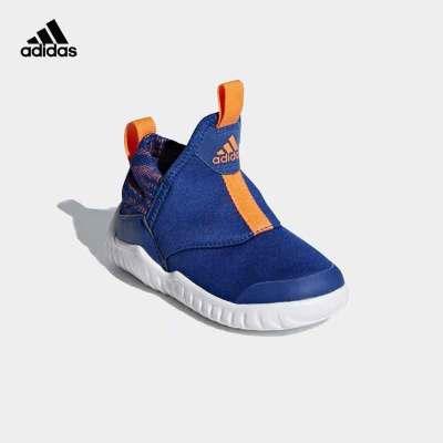 adidas阿迪達斯兒童運動休閑鞋 男女童輕盈柔軟輕便一腳蹬保暖護頸海馬運動訓練鞋AH2540