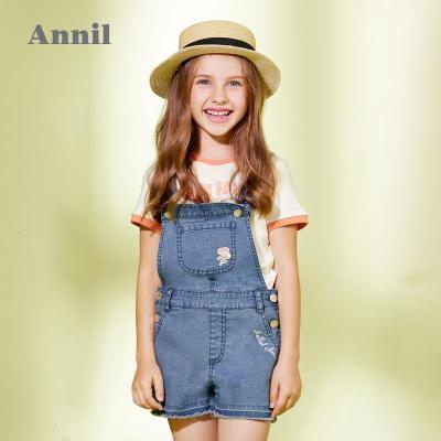 【商場同款】安奈兒童裝女童背帶牛仔短褲夏季新款洋氣女孩吊帶褲