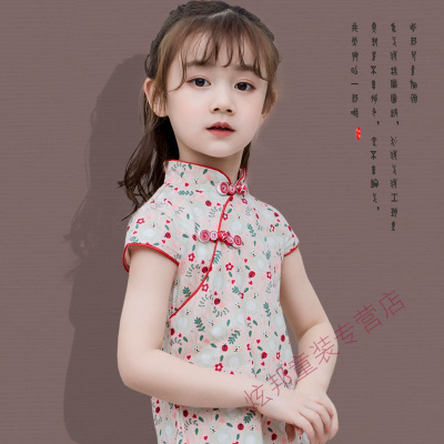 女童旗袍夏兒童旗袍裙中小童大童小孩幼兒寶寶中式改良純棉連衣裙