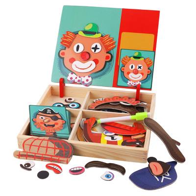 酷伴樂木質磁性力拼圖拼板積木兒童益智力玩具畫板人物五官磁貼 隨機發貨