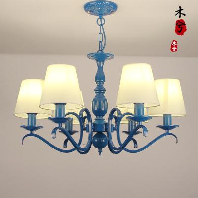 蒹葭欧式地中海风格吊灯简约蓝色书房灯客厅餐厅灯卧室儿童房灯饰灯具 6头不带水晶