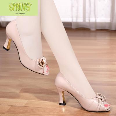 真皮魚嘴單鞋女中跟高跟2020春夏新款女鞋百搭舒適淺口高跟鞋子女  語婁