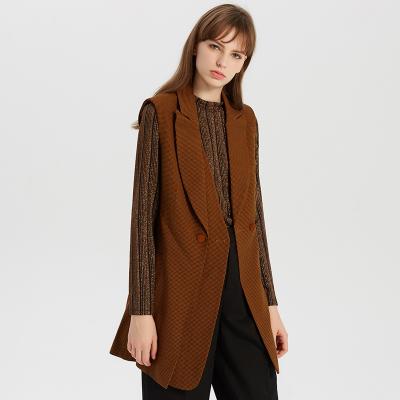 【1件3折价:195】MECITY女工装风千鸟格纹马甲外套