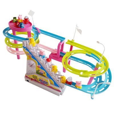 【配3只小猪+3辆火车+3只鸭子+3只小狗】抖音同款小猪佩琪爬楼梯玩具公仔玩偶电动灯光音乐上楼梯滑滑梯轨道玩具