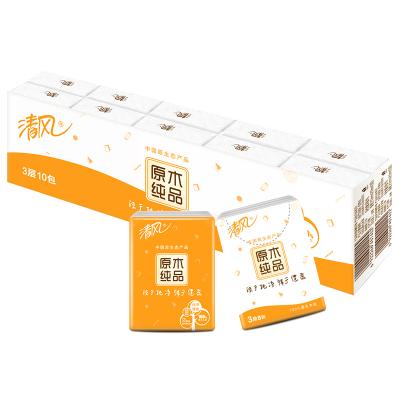 清風 手帕紙 原木純品3層8張*10包迷你型紙手帕【新舊包裝交替發貨】