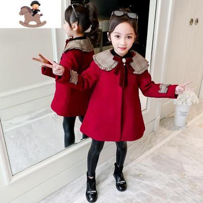 10女童秋冬外套中大童洋氣8冬裝9加厚女孩13毛呢子紅大衣11過年裝