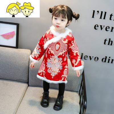 儿童旗袍冬季夹棉中国风女童棉服改良女孩拜年服宝宝汉服新年装唐  绿彩虹光