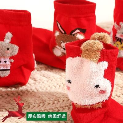 紅純襪子女男秋冬卡通中筒鼠年本命年結婚情侶棉婚慶圣誕襪 女款 鼠年大吉5雙 均碼