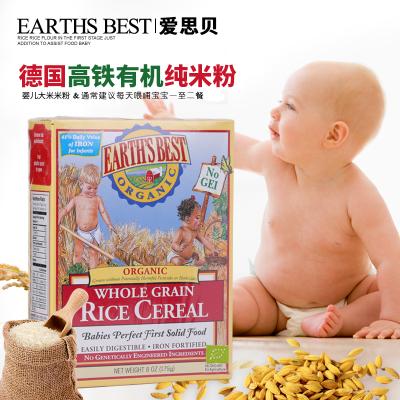 爱思贝(EARTH'S BEST) 宝宝米粉 地球世界米粉婴儿辅食 高铁有机大米粉175g(6个月以上适用)