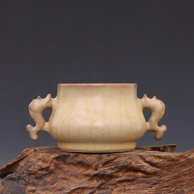 宋 官窯 灰黃釉 雙魚耳爐 古董瓷器古玩古瓷器 老物件舊貨收藏