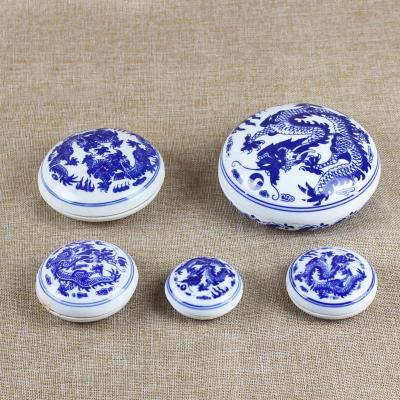 青花陶瓷印泥盒 文房四寶用品篆刻書法培訓班印泥