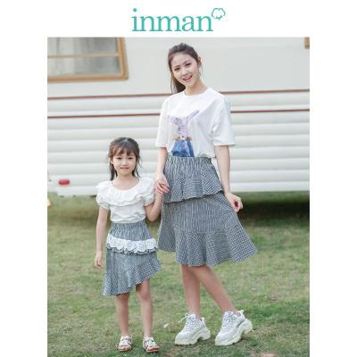 茵曼INMAN童装母女亲子装格子半身裙2019夏季新款薄款格蕾丝鱼尾裙子
