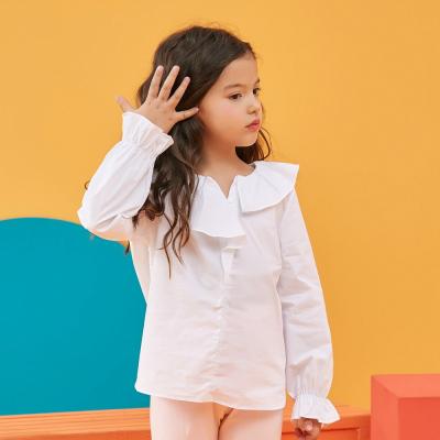 【斷碼清倉】moomoo童裝女童長袖襯衫新款春秋裝荷葉領韓版中大兒童上衣