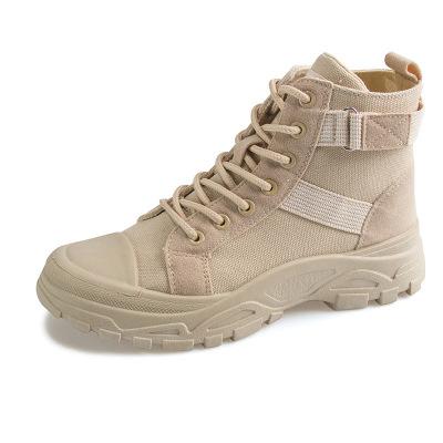 策霸馬丁靴女2020新款秋季短靴百搭英倫風沙厚底沙漠靴高幫馬丁靴子女