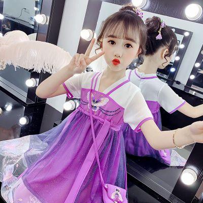 女童漢服連衣裙2020新款兒童唐裝網紗仙女裙網紅雪紡中國風古裝裙臻依緣