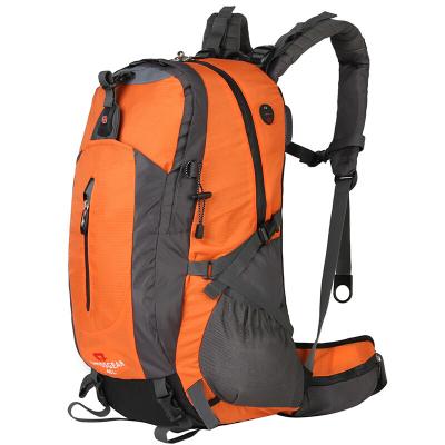 瑞士军刀SWISSGEAR登山包45L防水耐磨大容量登山包配防雨罩户外运动背包双肩包防雨JP-3502橘黄色