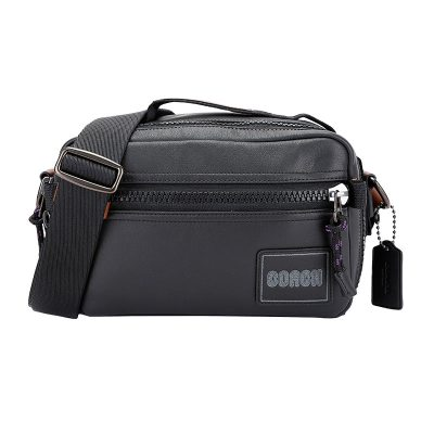 COACH 蔻驰 奢侈品 男士专柜款小号黑色皮革手提单肩斜挎休闲包 88308 JIBLK