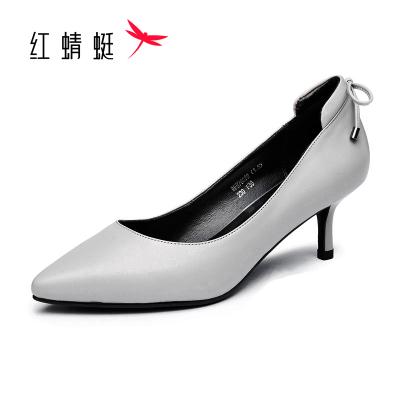 红蜻蜓女鞋春季羊皮女单鞋红色尖头浅口细跟女士皮鞋蝴蝶结中跟套脚女鞋婚鞋