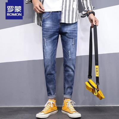 罗蒙(ROMON)牛仔裤男 青年时尚九分牛仔裤男韩版简约舒适休闲裤子