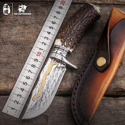 HX OUTDOORS汉道大马士革高硬度金丝鹿角收藏刀野外求生军刀直刀户外小刀