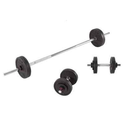 迪卡侬家用哑铃杠铃男女士健身器材可调节重量初学者50kg套装CROW[定制] 黑色 50kg(哑铃+杠铃套装)