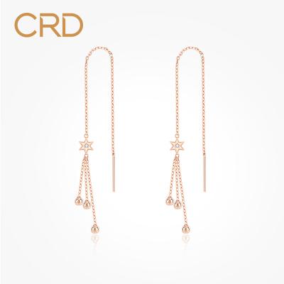 CRD克徕帝钻石耳线女款18K玫瑰金耳饰彩金耳坠个性送礼