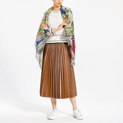 鄂尔多斯ERDOS 纯山羊绒精纺印花女式围巾披肩
