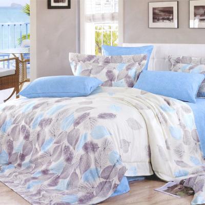 吉祥三宝家纺 全棉斜纹印花四件套全棉床品套件床上用品床单被套―凡华一叶 浅灰色 2.0*2.3m