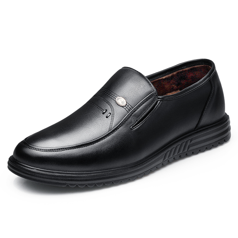 3515强人qiangren男鞋2018加绒男棉鞋真皮商务休闲鞋皮鞋爸爸鞋头层牛皮(除牛反绒)高帮鞋