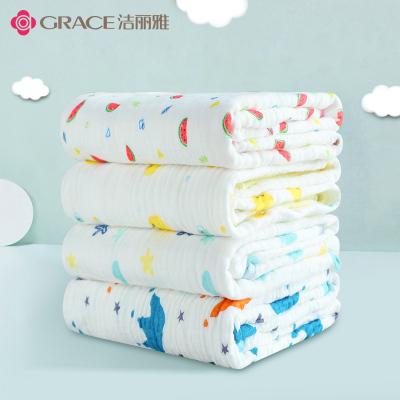 洁丽雅婴儿浴巾宝宝纯棉超柔吸水洗澡纱布被子幼儿童新生毛巾用品