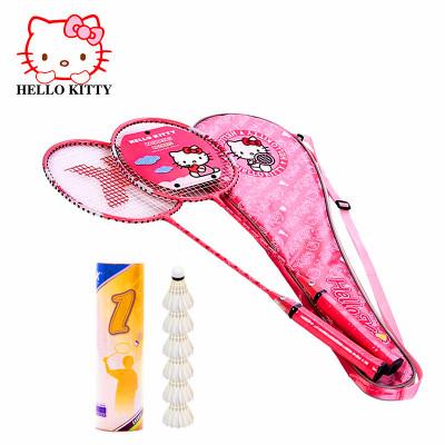 Hello Kitty凯蒂猫KT猫挥舞之成人对拍羽毛球拍情侣粉色铝合金羽拍