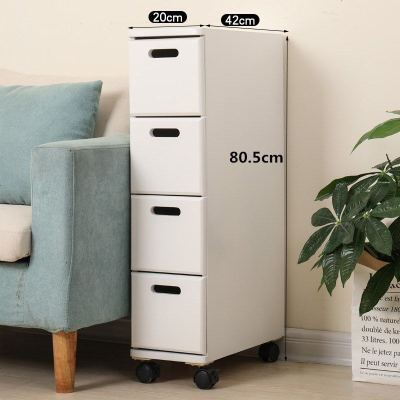 实木夹缝柜简易抽屉式收纳柜客厅卧室20厘米窄柜沙发卫生间储物柜 4个 H1802-4 四抽钻石闪色