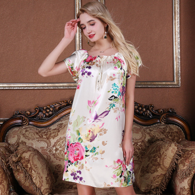 上海故事夏季新款仿真丝睡衣女宽松短袖家居服春秋冰丝睡裙可外穿