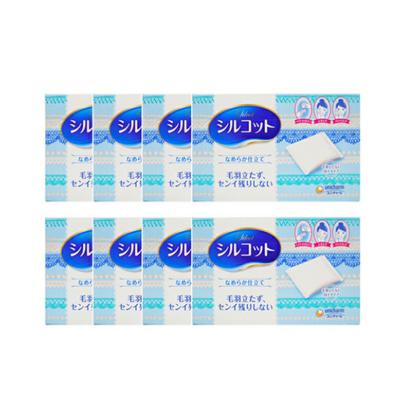 8件装 Unicharm尤妮佳 Silcot丝滑柔软化妆棉卸妆82枚 轻柔触感软超省水 日本原装进口