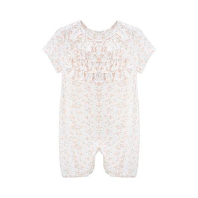 婴姿坊夏季新品女童爬爬服休闲家居服小碎花褶边0-3岁宝宝连体衣