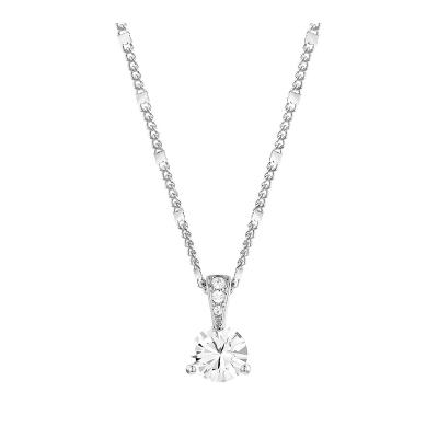 施华洛世奇(Swarovski) 人造水晶 女士单钻水晶项链 欧美风格 送恋人 镀白金色