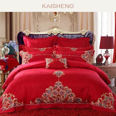 凯盛家纺 全棉绣花大红婚庆多件套 结婚纯棉被套1.8m床六件套